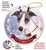 Whippet Blue/White - Up to Snow Good Holiday Ornament - Made in the USA