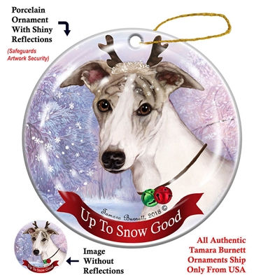 Whippet Fawn Brindle/White - Up to Snow Good Holiday Ornament - Made in the USA