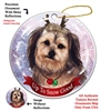 Yorkipoo Fawn - Up to Snow Good Holiday Ornament - Made in the USA