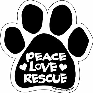 Peace Love Rescue Paw Magnet