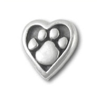 Heart & Paw Pin - Pewter