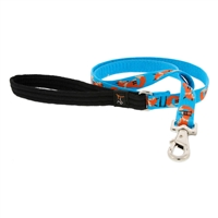 Lupine Foxy Paws 4' Long Padded Handle Leash - Large Dog LIMITED EDITION