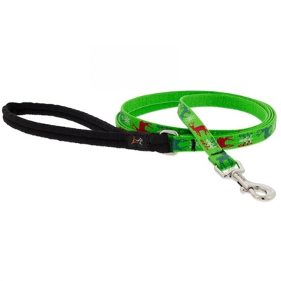 "Lupine 1/2"" Happy Holidays Green 6' Padded Handle Leash"