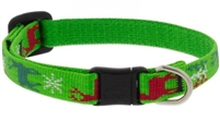 "Lupine 1/2"" Happy Holidays Green Cat Safety Collar"