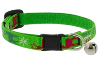 "Lupine 1/2"" Happy Holidays Green Cat Safety Collar with Bell"