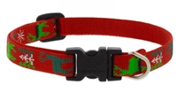 "Lupine 1/2"" Happy Holidays Red 10-16"" Adjustable Collar"