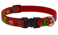 "Lupine 3/4"" Happy Holidays Red 15-25"" Adjustable Collar"