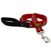 "Lupine 1"" Happy Holidays Red 6' Long Padded Handle Leash"