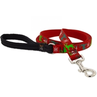 "Lupine 3/4"" Happy Holidays Red 6' Padded Handle Leash"
