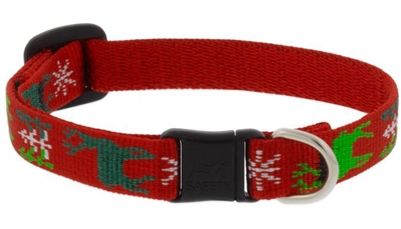 "Lupine 1/2"" Happy Holidays Red Cat Safety Collar"