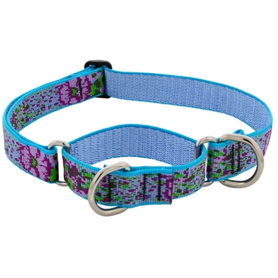 "Retired LupinePet 1"" Purple Pansies 19-27"" Martingale Training Collar - Large Dog"