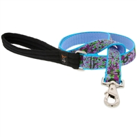 "Retired Lupine 1"" Purple Pansies 4' Long Padded Handle Leash - Large Dog"