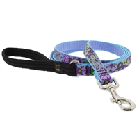 "Retired Lupine 3/4"" Purple Pansies 4' Padded Handle Leash"