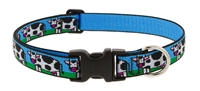 "Retired Lupine 1"" Udderly Cows 16-28"" Adjustable Collar - Large Dog"
