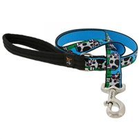 "Lupine 1"" Udderly Cows 4' Long Padded Handle Leash MicroBatch"