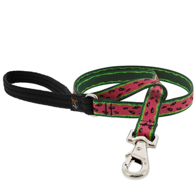 "Retired Lupine 3/4"" Watermelon 4' Padded Handle Leash"