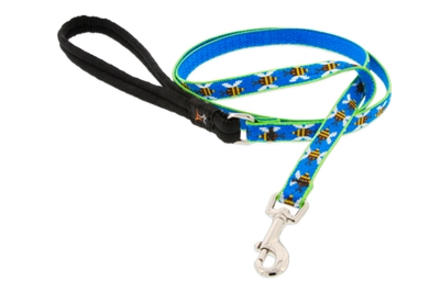 "Lupine 1/2"" Blue Bees 6' Padded Handle Leash Ships in April 2021"