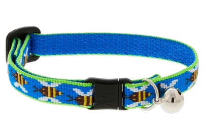 Lupine Blue Bees Cat Collar with Bell LIMITED EDITION