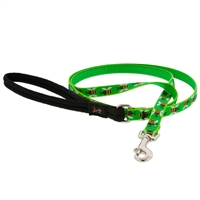"Retired LupinePet 1/2"" Green Bees 6' Padded Handle Leash - Small Dog or Cat"