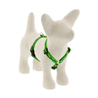 "Lupine 1/2"" Green Bees 9-14"" Roman Harness - Small Dog LIMITED EDITION"
