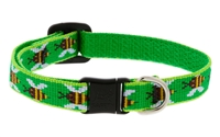 "Retired Lupine 1/2"" Green Bees Safety Cat Collar"