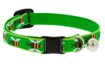 "Lupine 1/2"" Green Bees Cat Collar with Bell LIMITED EDITION"