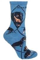 Wheel House Design Dachshunds Black on Blue Socks (Size 9-11)