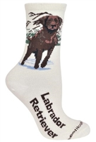 Wheel House Design Labrador Chocolate on Natural Socks (Size 9-11)