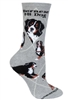 Wheel House Design Bernese Mountain Dog on Gray Socks (Size 9-11)