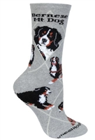 Wheel House Design Bernese Mountain Dog on Gray Socks (Size 10-13)