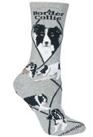 Wheel House Design Border Collie on Gray Socks (Size 10-13)