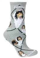 Wheel House Design Collie on Gray Socks (Size 9-11)