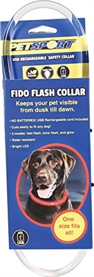 Petsport USA Fido Flash USB Rechargable LED Safety Collar - Red