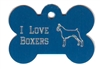 I Love Boxers Bone Pet Tag
