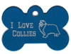 I Love Collies Bone Pet Tag