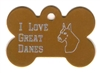 I Love Great Danes Bone Pet Tag