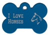 I Love Horses Bone Pet Tag
