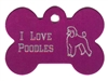 I Love Poodles Bone Pet Tag