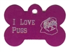 I Love Pugs Bone Pet Tag