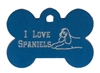 I Love Spaniels (Laying Down) Bone Pet Tag