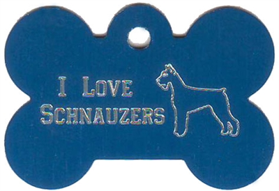 I Love Schnauzers Bone Pet Tag