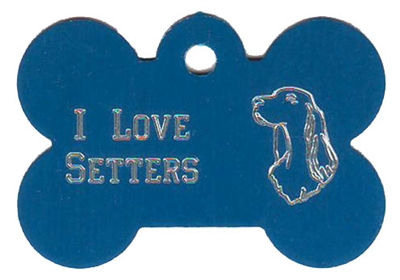 I Love Setters Bone Pet Tag