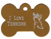 I Love Terriers Bone Pet Tag