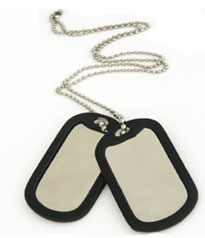 Military Tag w/Ball Chain Necklace & Tag Silencer - Aluminum Large