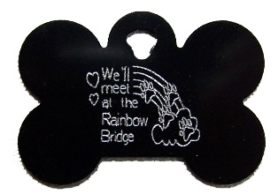 Rainbow Bridge Bone Pet Tag - Aluminum Large