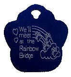 Rainbow Bridge Paw Print Pet Tag - Aluminum Large