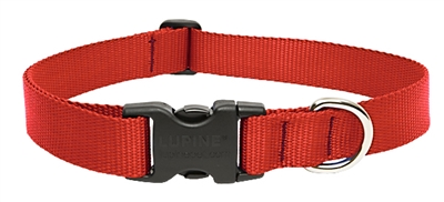 "Lupine Basic Solids 1"" Red 16-28"" Adjustable Collar for Medium and Larger Dogs"