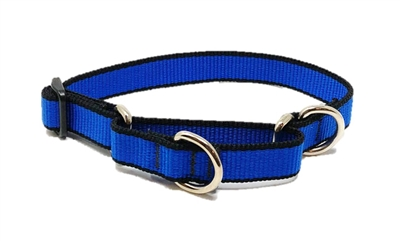 "Retired Lupine 3/4"" Trimline Solid Blue 10-14"" Martingale Training Collar"