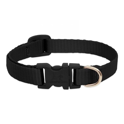 "Lupine Solid 1/2"" Black 8-12"" Adjustable Collar"