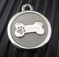 Silver Paw Large Stainless Steel Bone ID Tag